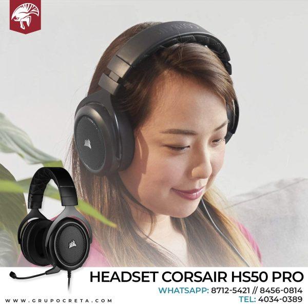 HEADSET CORSAIR HS50 PRO STEREO GAMING CARBON CA-9011215-NA Creta Gaming