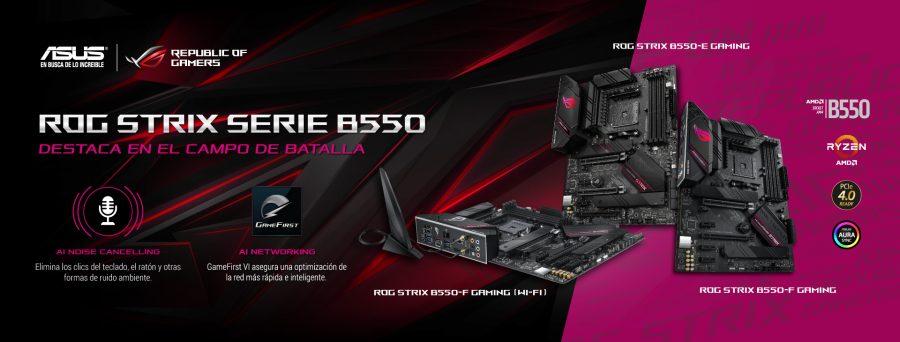 Tarjetas madre ASUS ROG STRIX serie B550 compatibles con los procesadores AMD Ryzen 5000
