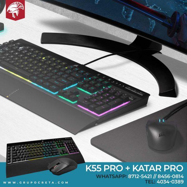 Combo Corsair K55 RGB PRO + KATAR PRO Creta Gaming