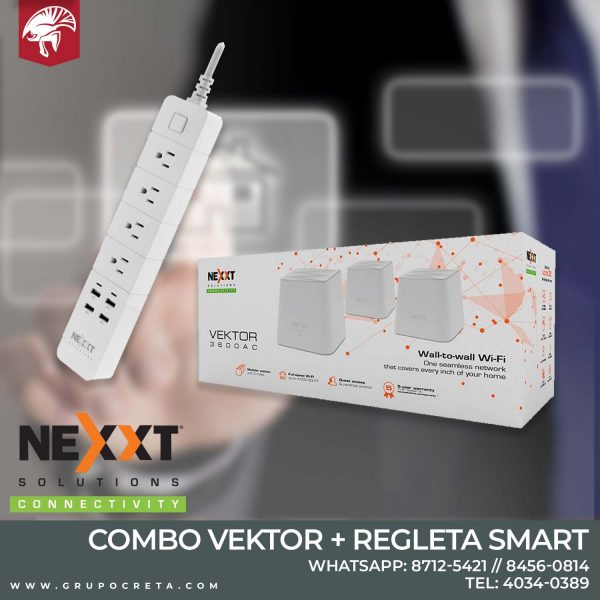 Combo Vektor 3600ac + regleta smart Nexxt - Creta Gaming