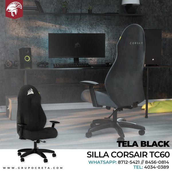 SILLA CORSAIR TC60 TELA BLACK CF-9010041-WW Creta Gaming